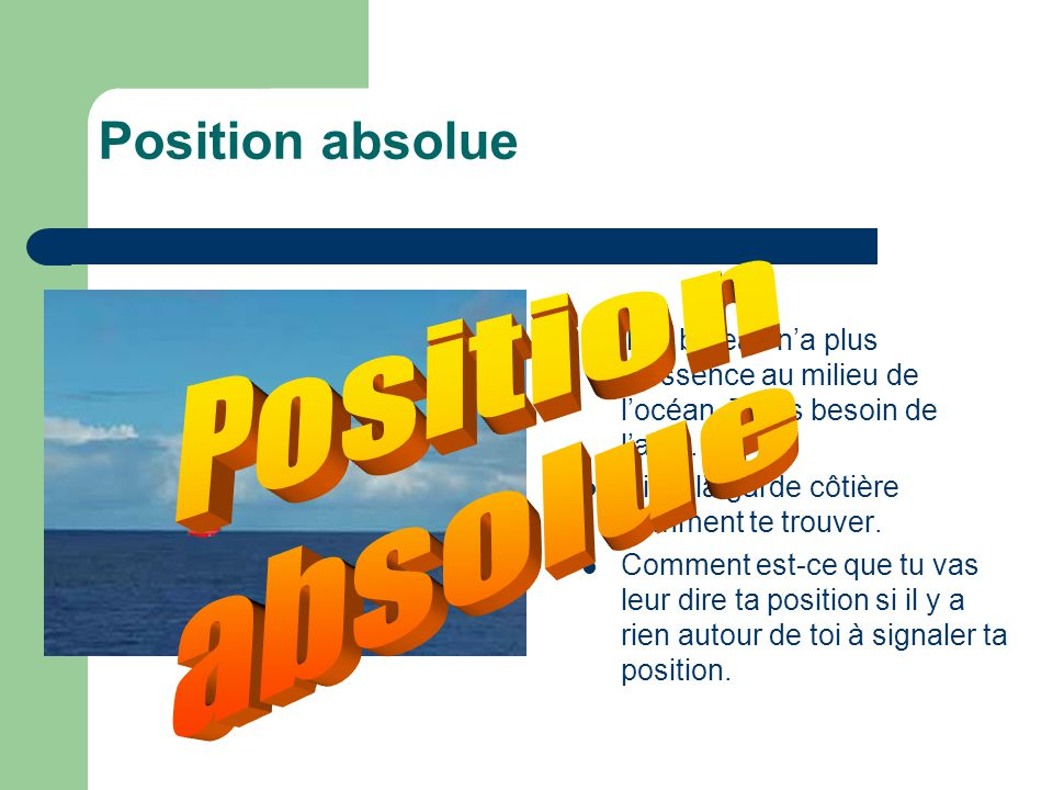 Position absolue Position absolue