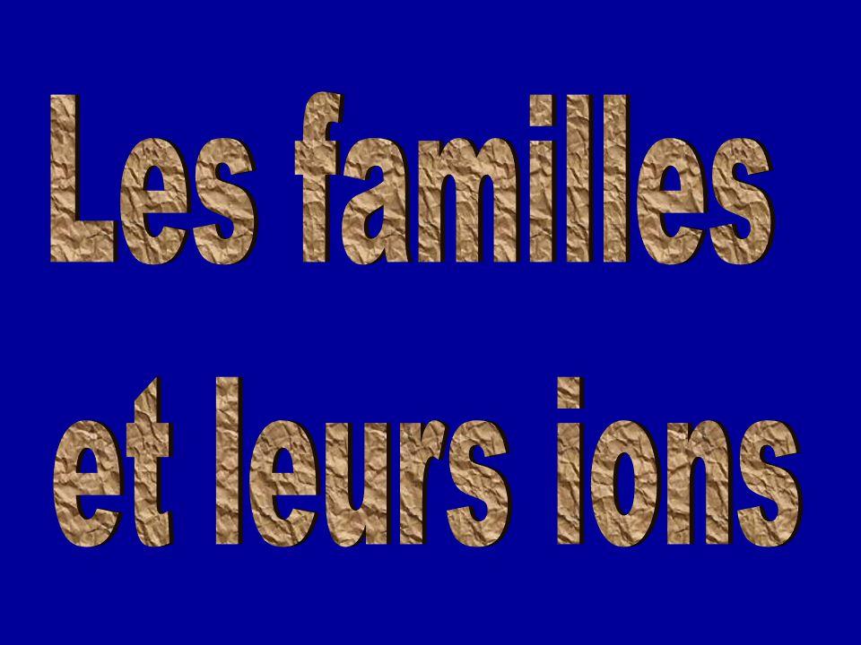 Les familles et leurs ions