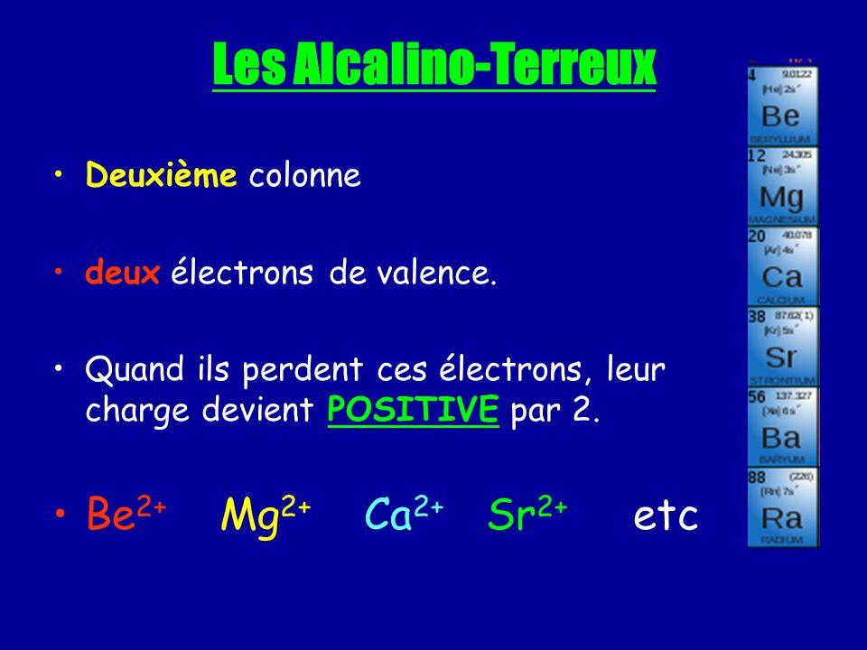 Les Alcalino-Terreux Be2+ Mg2+ Ca2+ Sr2+ etc Deuxième colonne