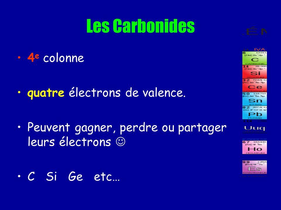Les Carbonides 4e colonne quatre électrons de valence.