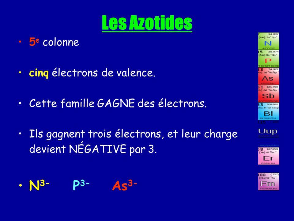 Les Azotides N3- P3- As3- 5e colonne cinq électrons de valence.