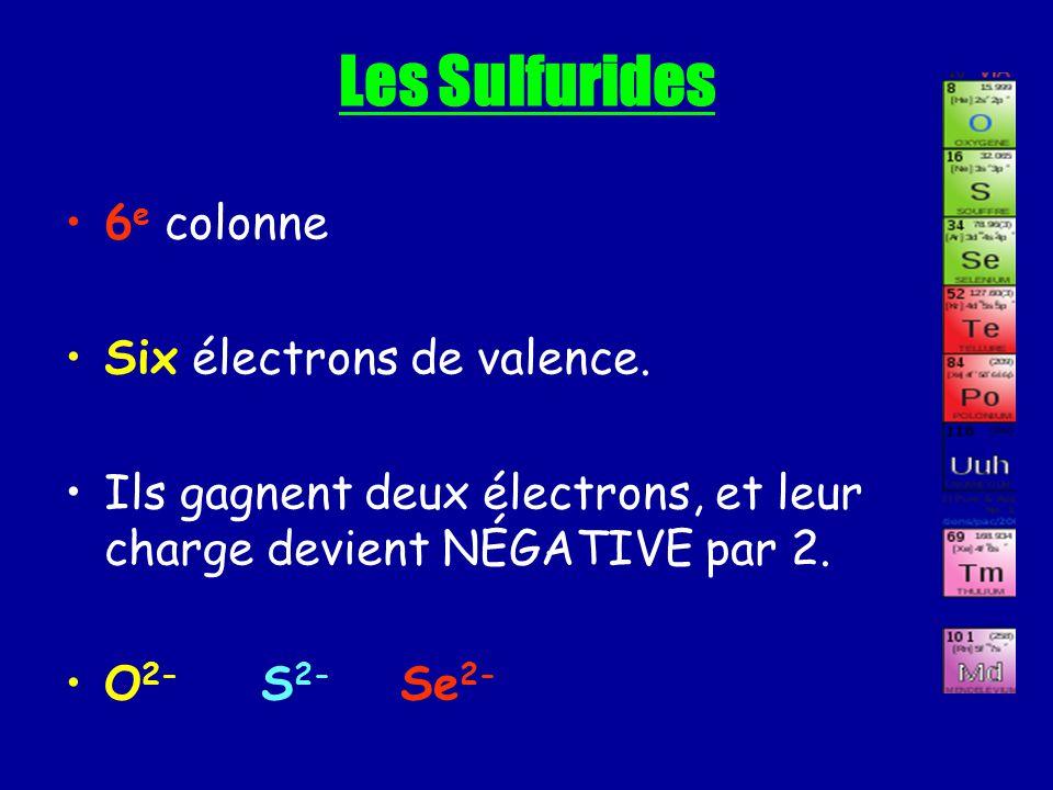Les Sulfurides 6e colonne Six électrons de valence.