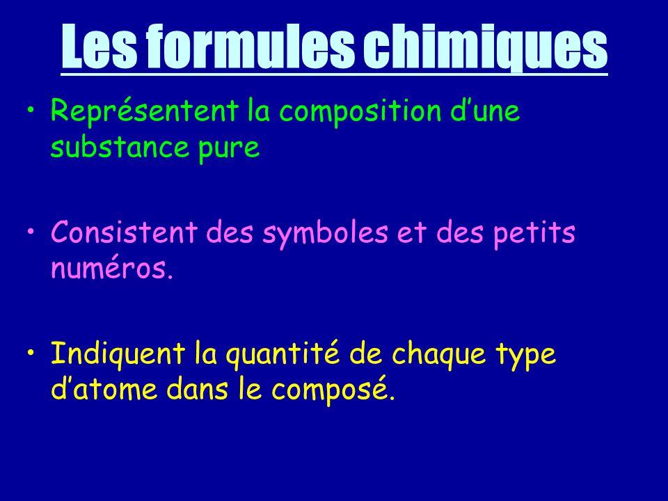 Les formules chimiques