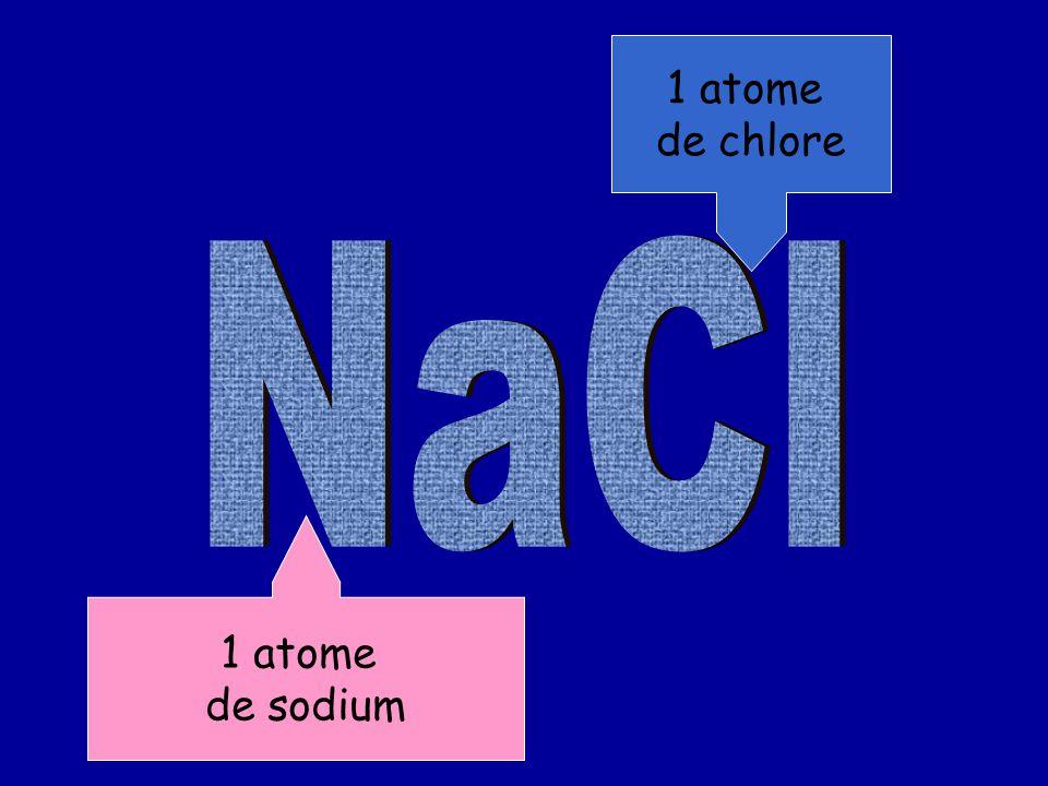 1 atome de chlore NaCl 1 atome de sodium