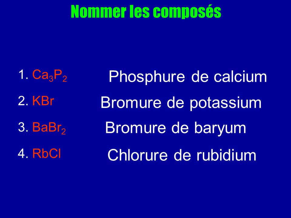 Nommer les composés Phosphure de calcium Bromure de potassium