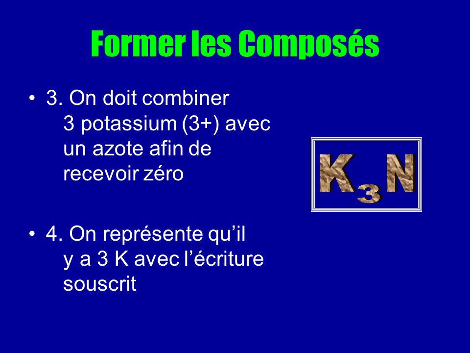 Former les Composés 3. On doit combiner 3 potassium (3+) avec un azote afin de recevoir zéro.