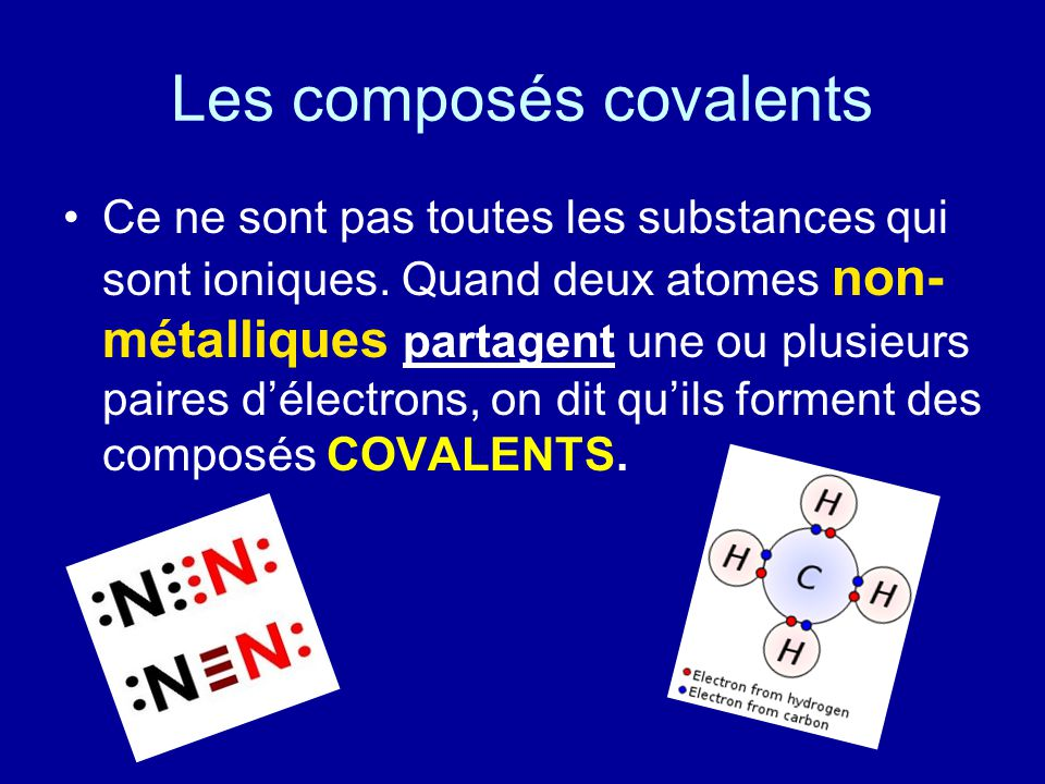Les composés covalents