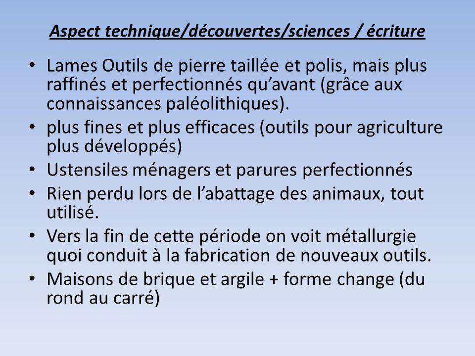 Aspect technique/découvertes/sciences / écriture