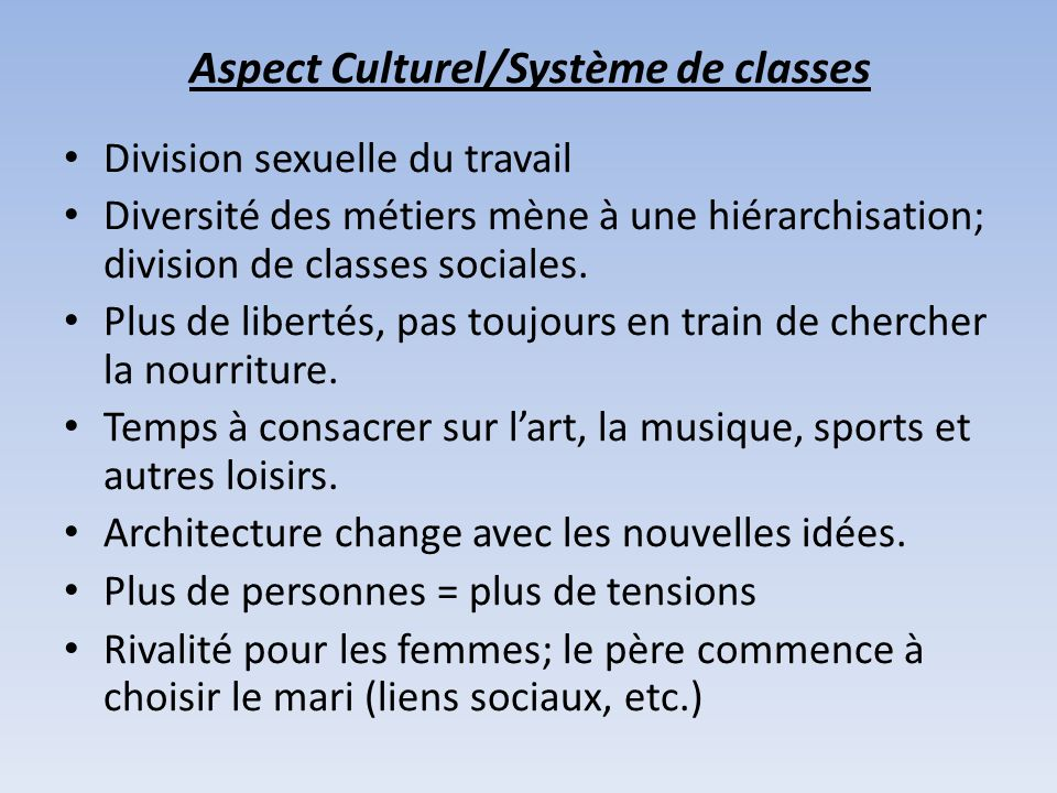 Aspect Culturel/Système de classes