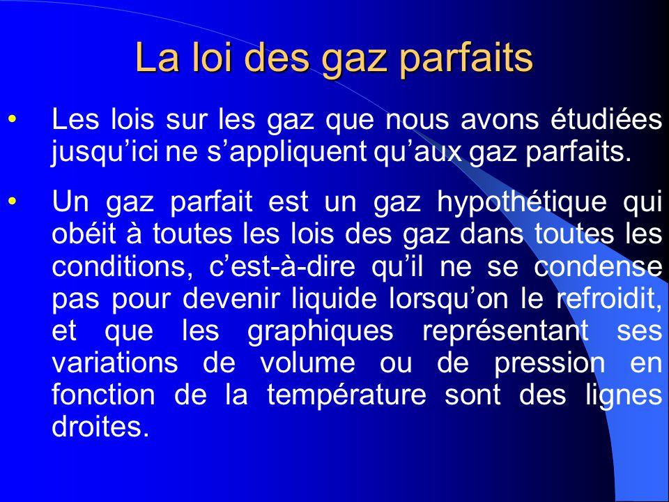 La loi des gaz parfaits Les lois sur les gaz que nous avons étudiées jusqu'ici ne s'appliquent qu'aux gaz parfaits.