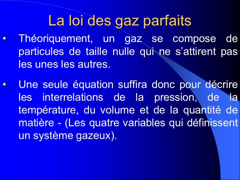 La loi des gaz parfaits Théoriquement, un gaz se compose de particules de taille nulle qui ne s'attirent pas les unes les autres.
