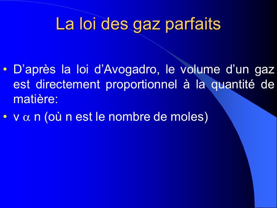 La loi des gaz parfaits D'après la loi d'Avogadro, le volume d'un gaz est directement proportionnel à la quantité de matière: