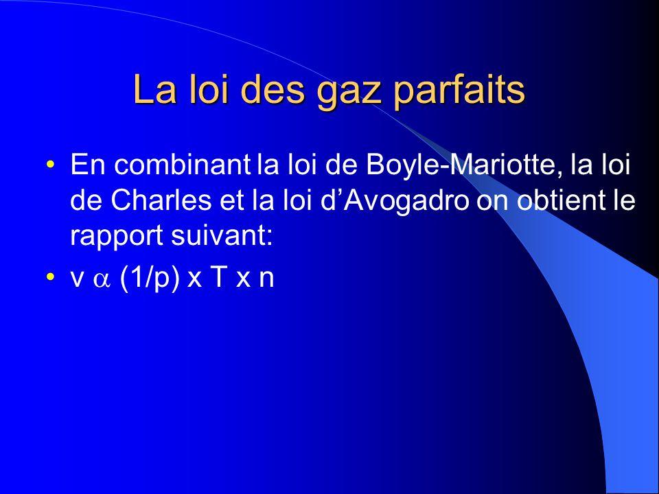 La loi des gaz parfaits En combinant la loi de Boyle-Mariotte, la loi de Charles et la loi d'Avogadro on obtient le rapport suivant: