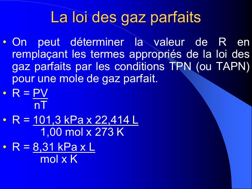 La loi des gaz parfaits