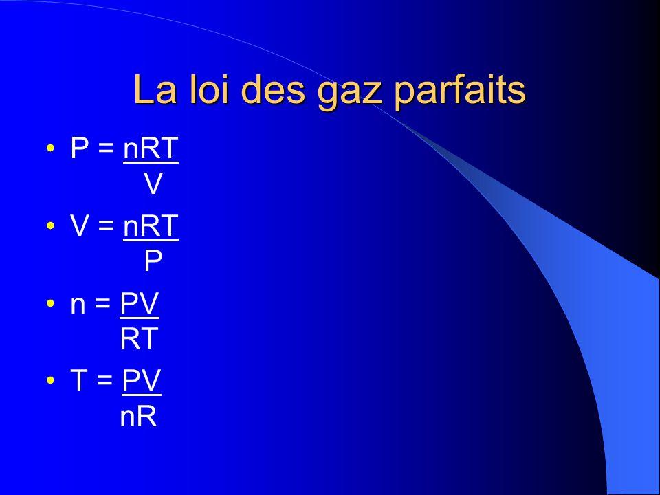 La loi des gaz parfaits P = nRT V. V = nRT P.