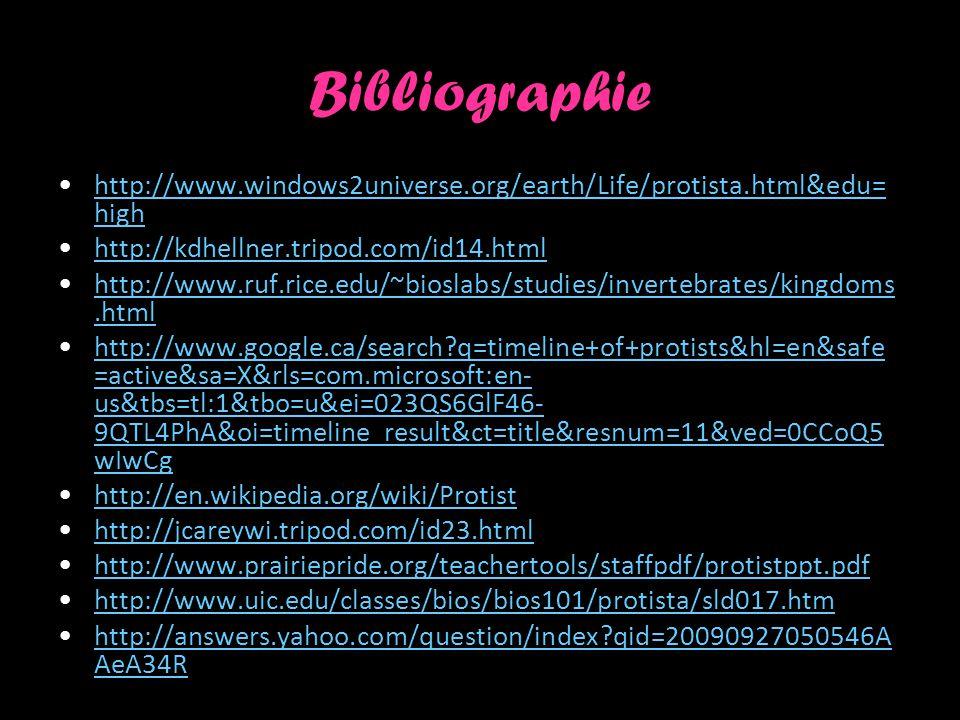 Bibliographie http://www.windows2universe.org/earth/Life/protista.html&edu=high. http://kdhellner.tripod.com/id14.html.