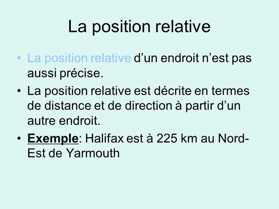 La position relative La position relative d'un endroit n'est pas aussi précise.