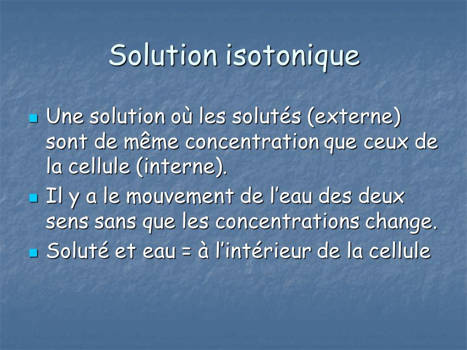 Solution isotonique Une solution où les solutés (externe) sont de même concentration que ceux de la cellule (interne).