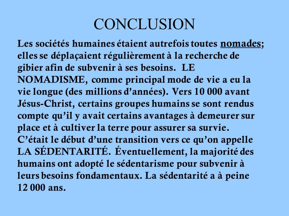 CONCLUSION Les sociétés humaines étaient autrefois toutes nomades;