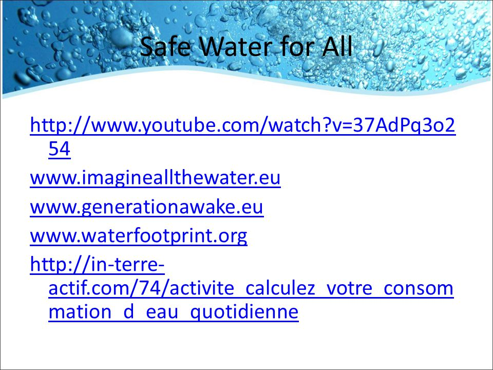 Safe Water for All http://www.youtube.com/watch v=37AdPq3o254