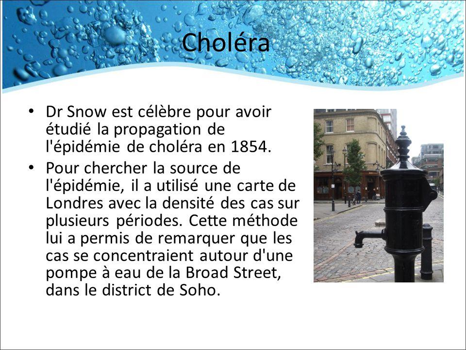 Choléra Dr Snow est célèbre pour avoir étudié la propagation de l épidémie de choléra en 1854.