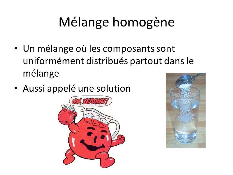 Mélange homogène Un mélange où les composants sont uniformément distribués partout dans le mélange.