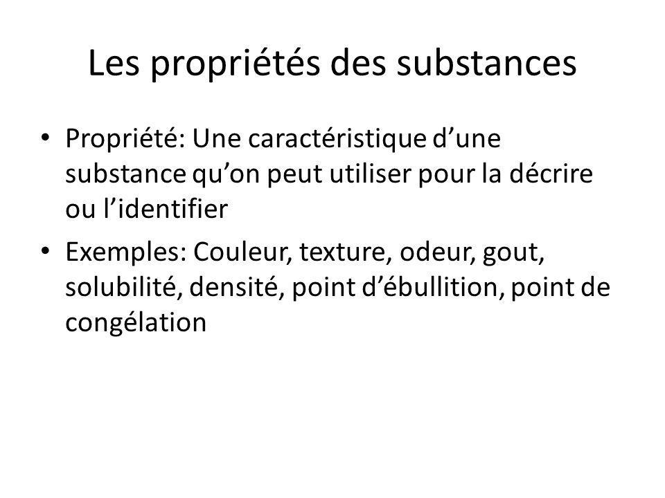 Les propriétés des substances