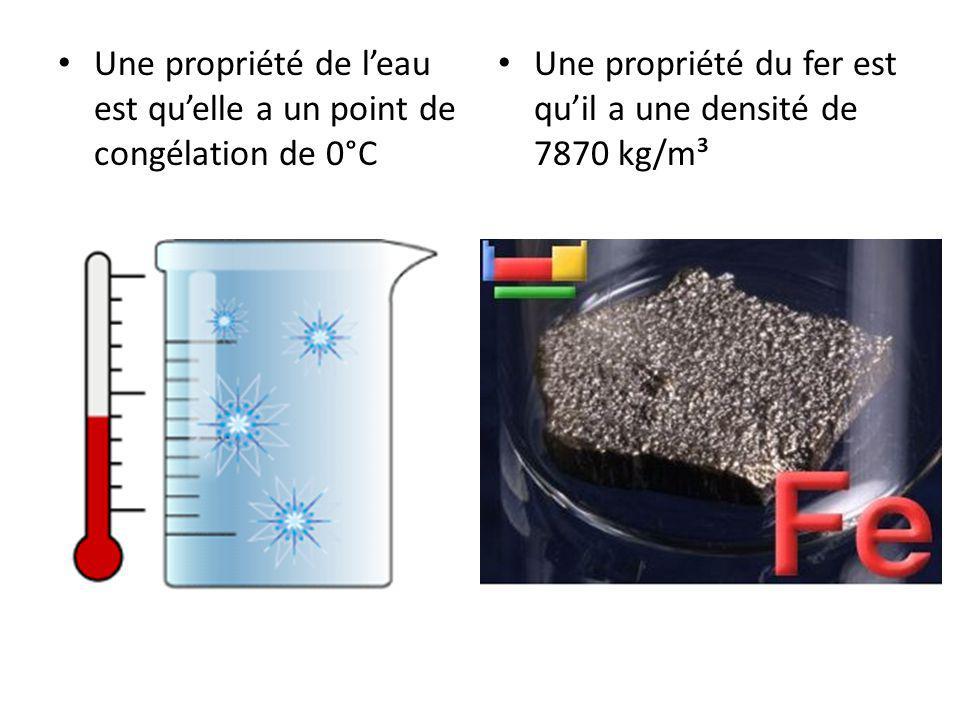 Une propriété de l'eau est qu'elle a un point de congélation de 0°C