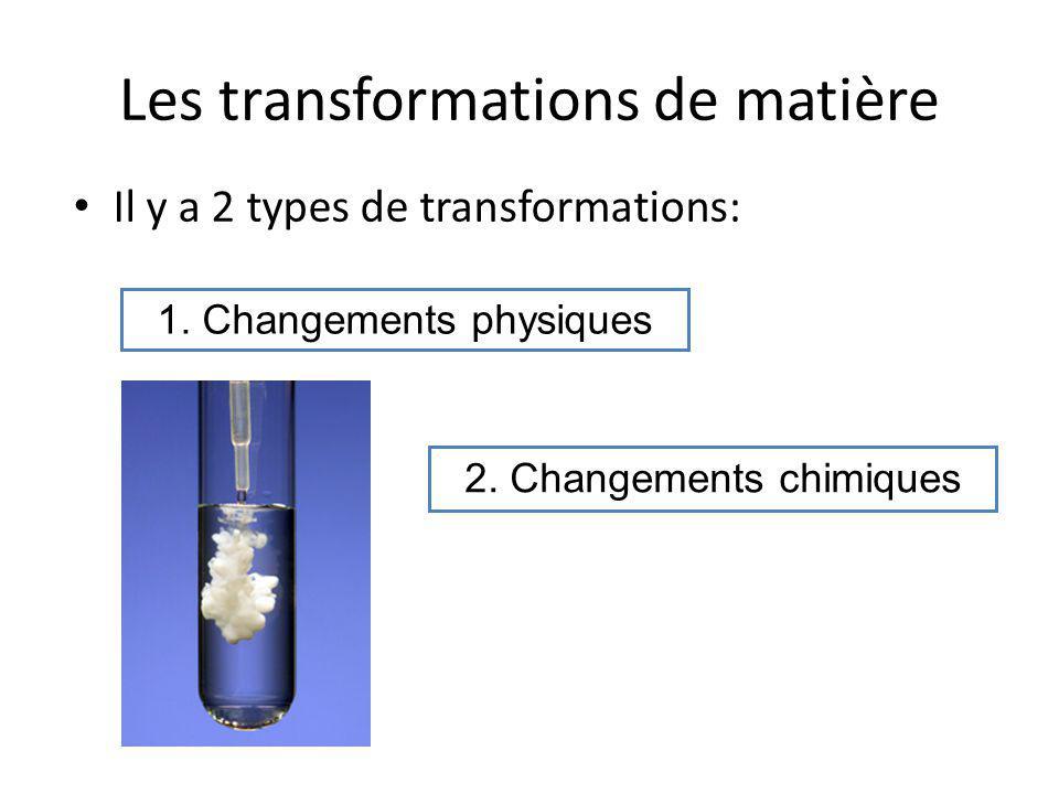 Les transformations de matière