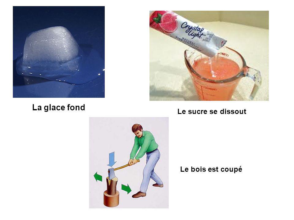La glace fond Le sucre se dissout Le bois est coupé