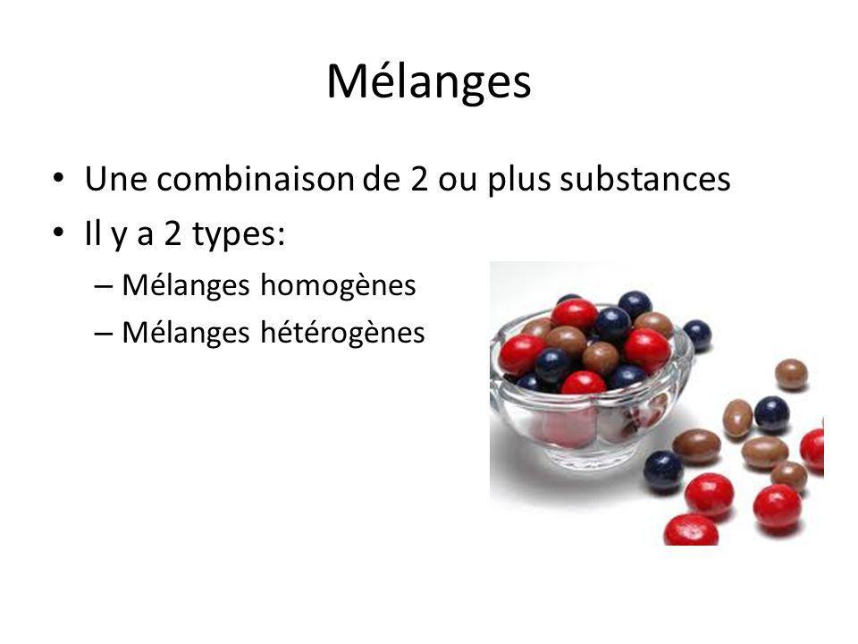 Mélanges Une combinaison de 2 ou plus substances Il y a 2 types: