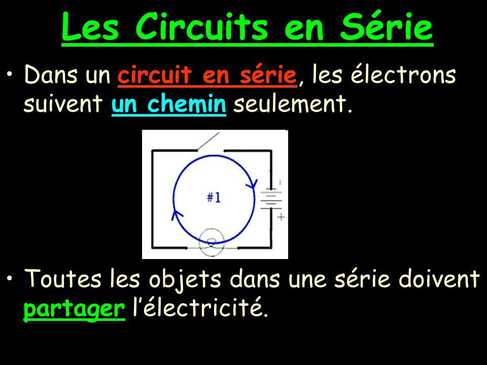 Les Circuits en Série Dans un circuit en série, les électrons suivent un chemin seulement.
