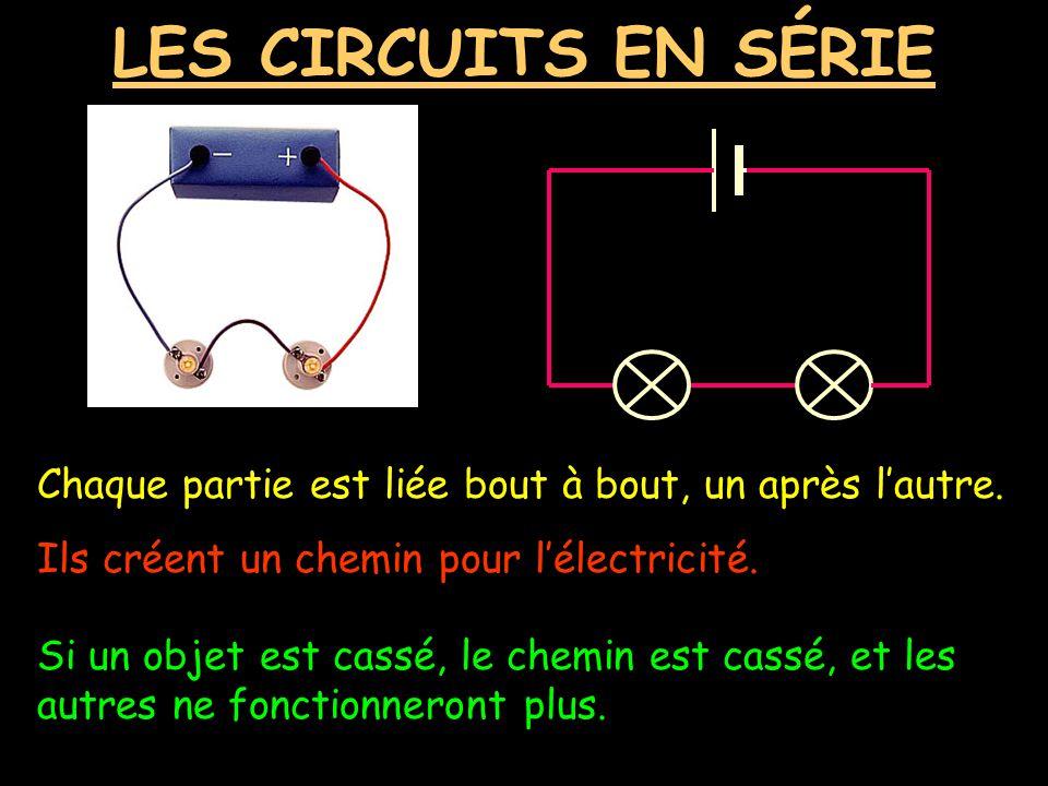 LES CIRCUITS EN SÉRIE Chaque partie est liée bout à bout, un après l'autre. Ils créent un chemin pour l'électricité.