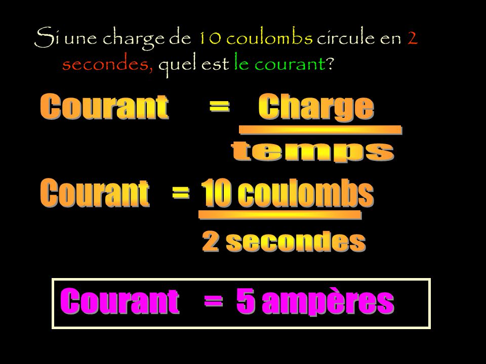 Courant = Charge - temps Courant = 10 coulombs - 2 secondes