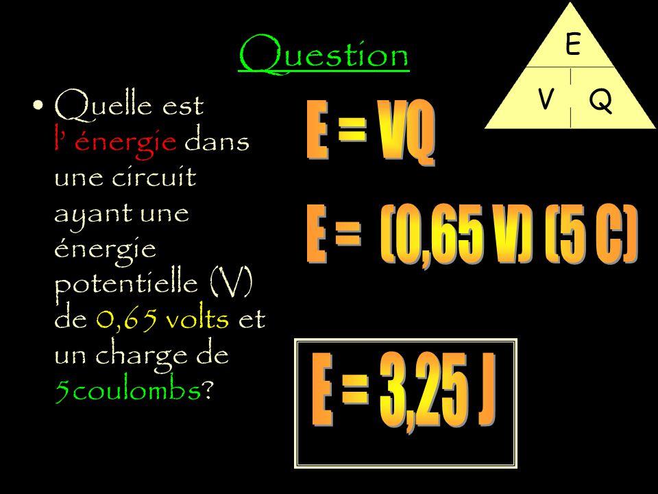 Question E. V. Q. Quelle est l' énergie dans une circuit ayant une énergie potentielle (V) de 0,65 volts et un charge de 5coulombs