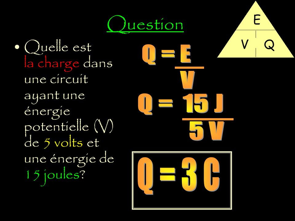 Question E. V. Q. Quelle est la charge dans une circuit ayant une énergie potentielle (V) de 5 volts et une énergie de 15 joules