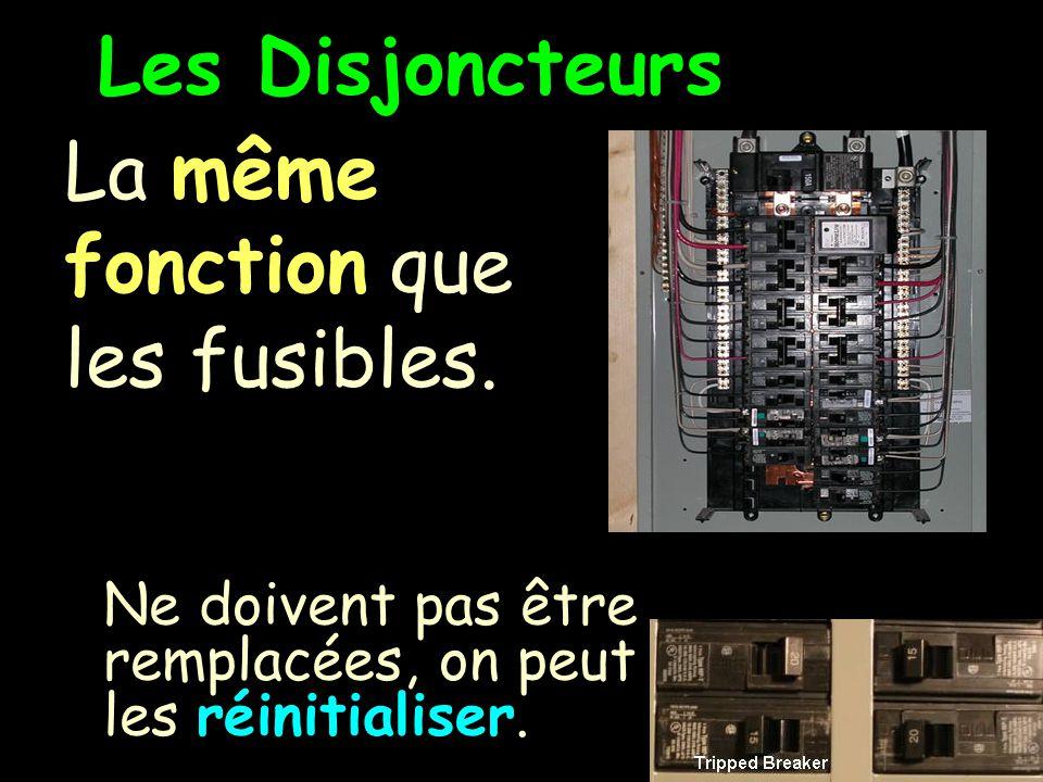 Les Disjoncteurs La même fonction que les fusibles.