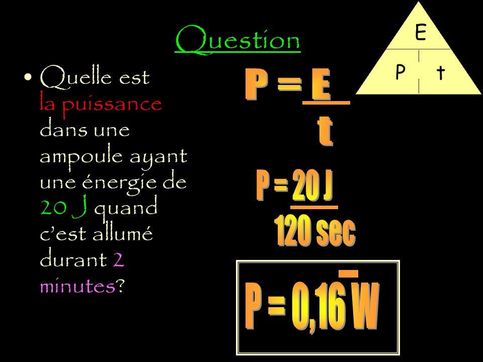Question E. P. t. Quelle est la puissance dans une ampoule ayant une énergie de 20 J quand c'est allumé durant 2 minutes