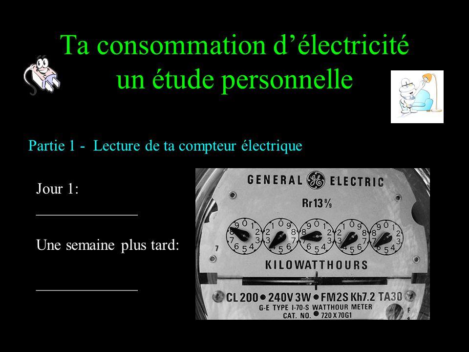 Ta consommation d'électricité un étude personnelle