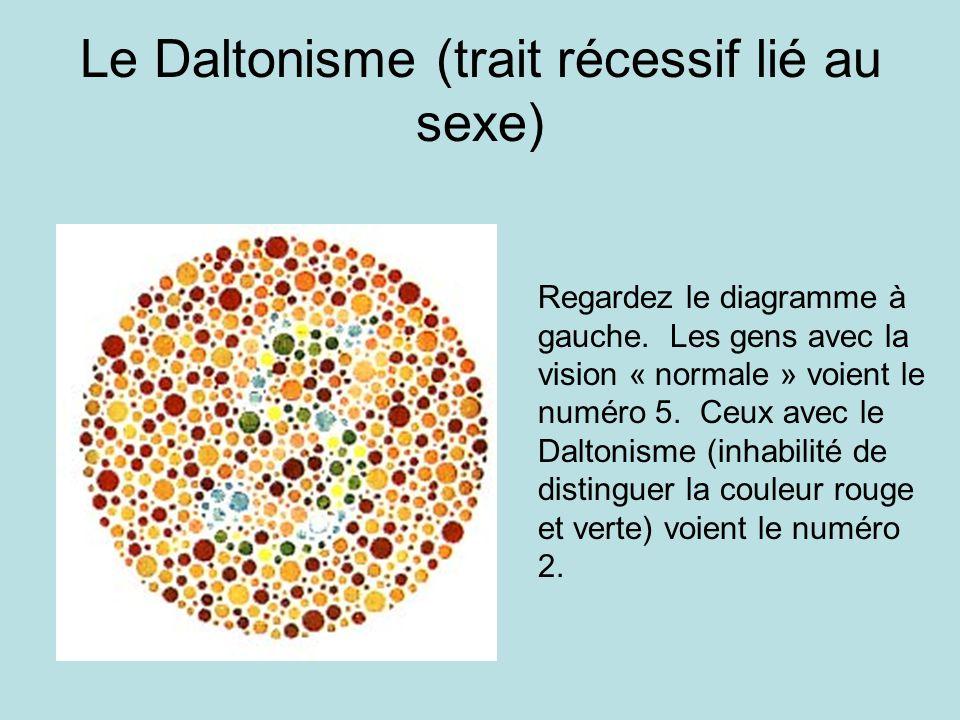 Le Daltonisme (trait récessif lié au sexe)