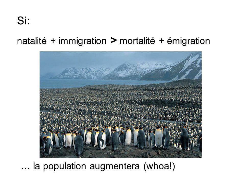 Si: natalité + immigration > mortalité + émigration