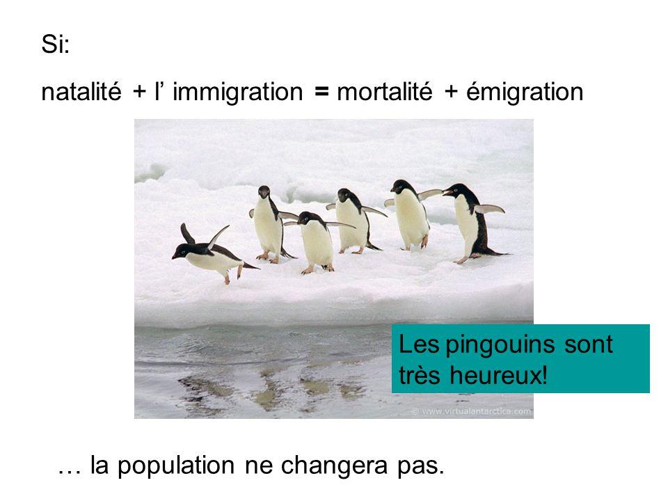 Si: natalité + l' immigration = mortalité + émigration.