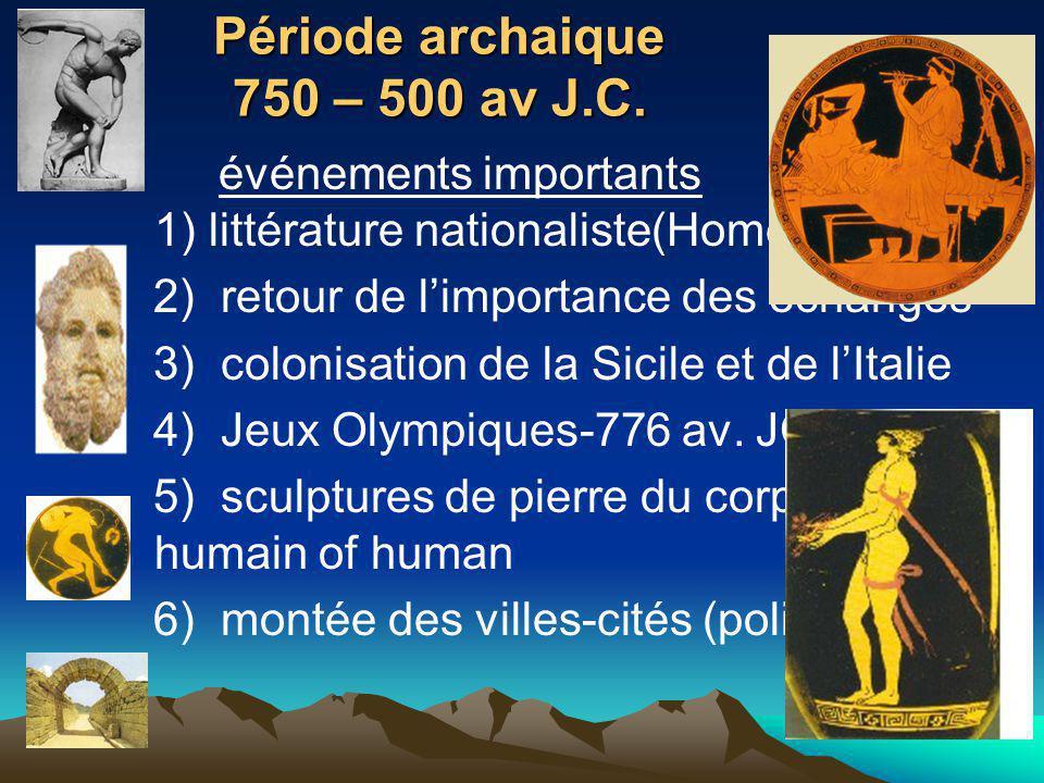 Période archaique 750 – 500 av J.C.