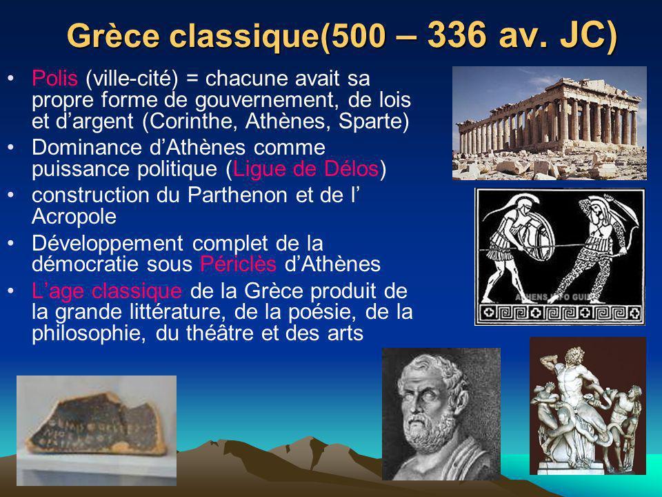 Grèce classique(500 – 336 av. JC)