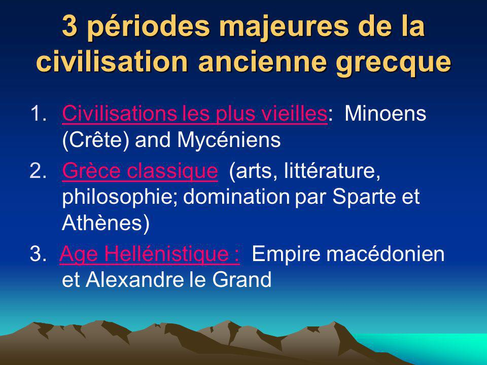 3 périodes majeures de la civilisation ancienne grecque