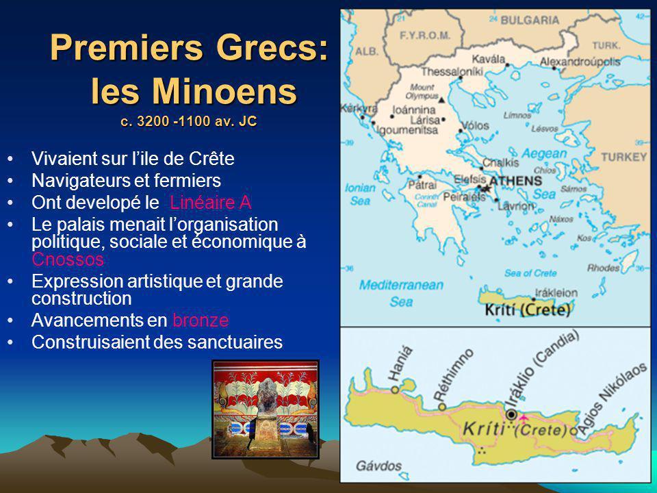 Premiers Grecs: les Minoens c. 3200 -1100 av. JC