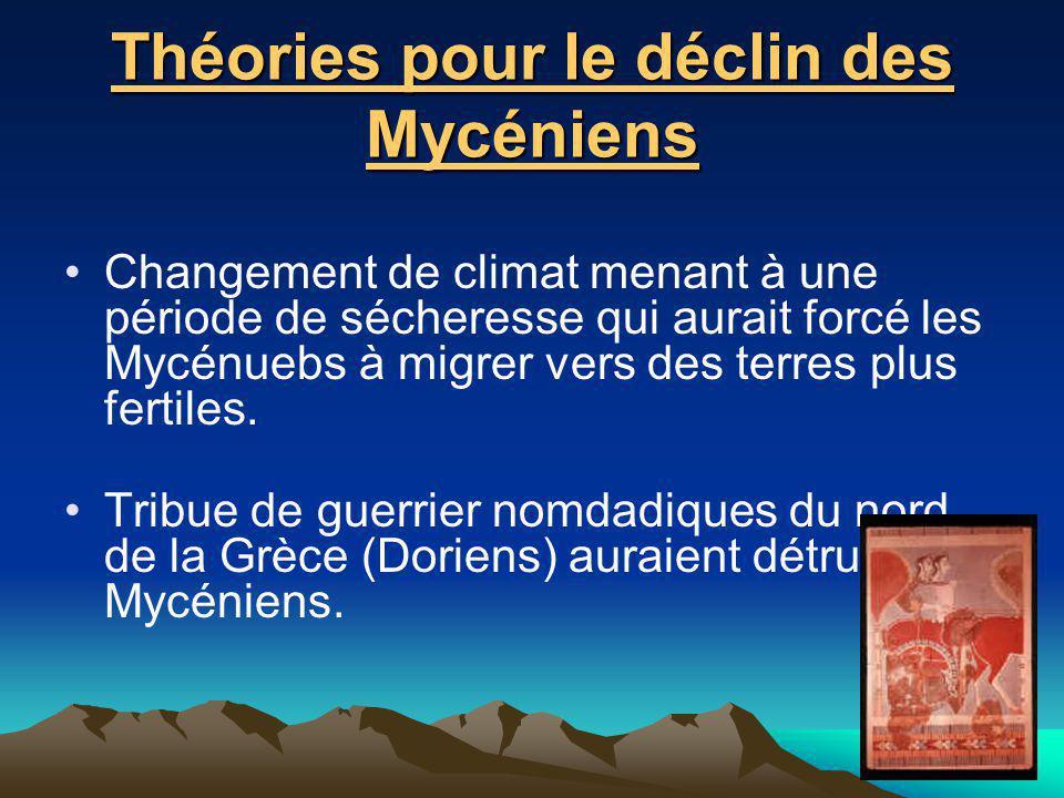 Théories pour le déclin des Mycéniens