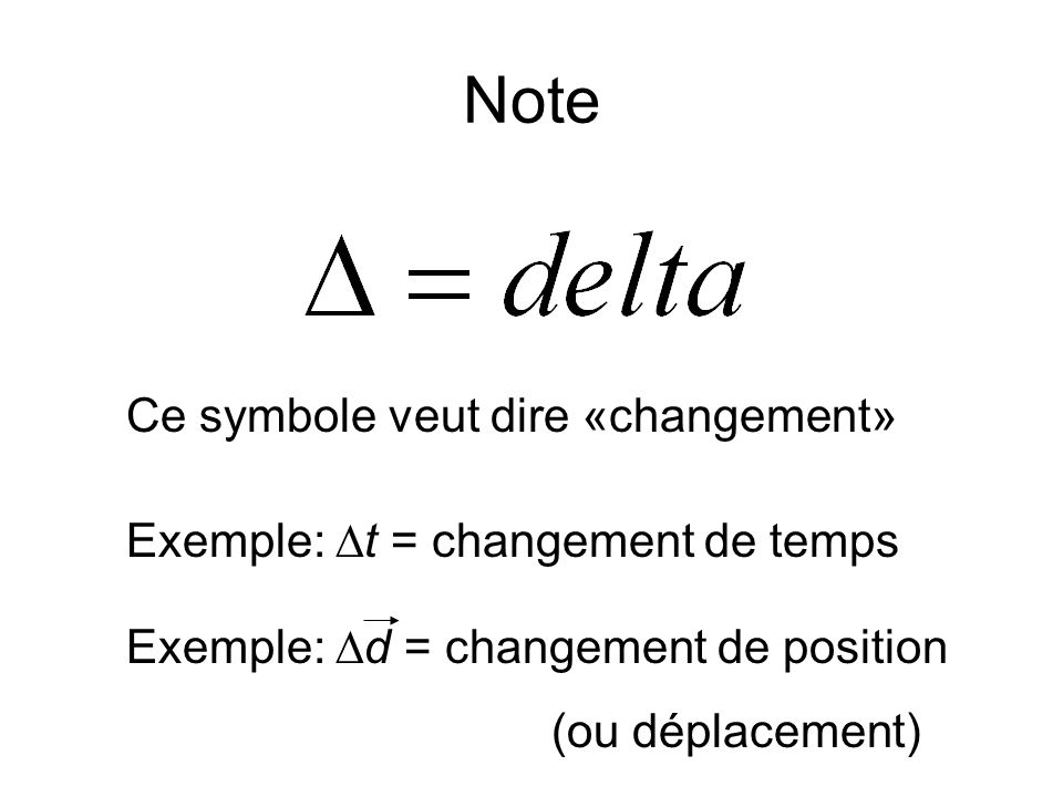 Note Ce symbole veut dire «changement»