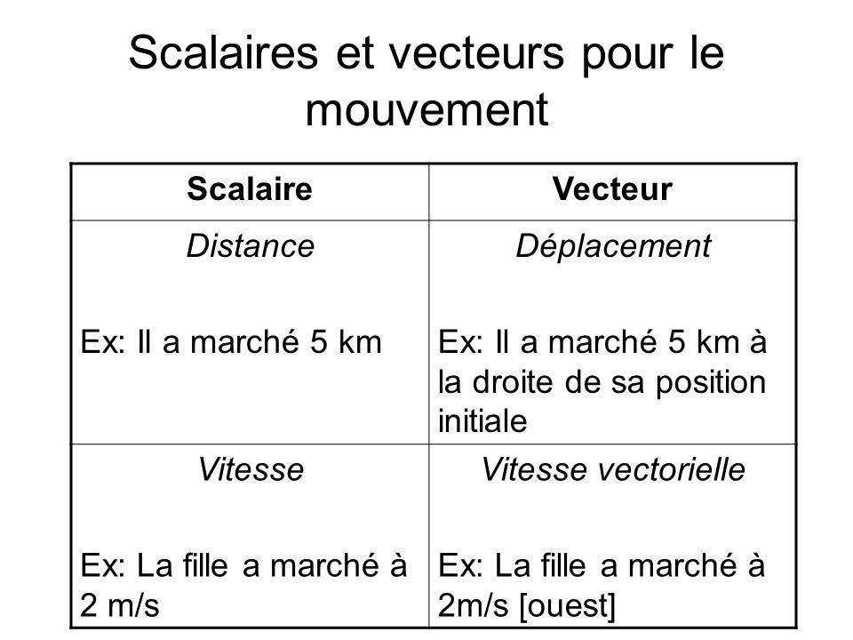 Scalaires et vecteurs pour le mouvement