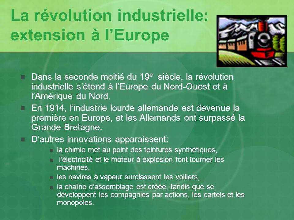 La révolution industrielle: extension à l'Europe